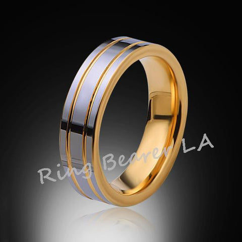 6mm,New,Unique,High Polish,Yellow Gold Groove,Tungsten Rings,Wedding Band,Unisex,Comfort Fit - RING BEARER LA