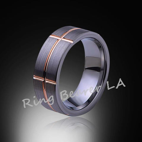 8mm,Unique,Gray Satin Brushed,Rose Gold Groove,Tungsten Ring,Cross Ring,Comfort Fit - RING BEARER LA