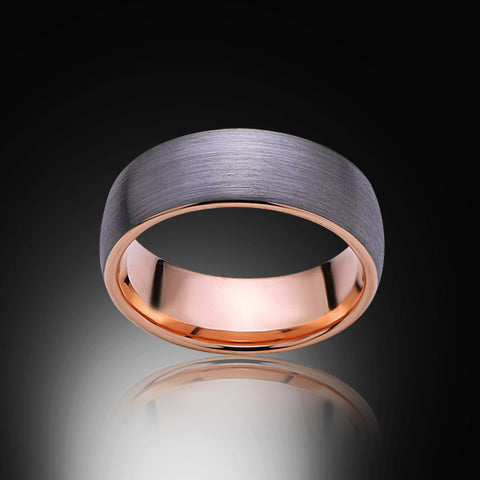 Rose Gold Tungsten Ring - Brushed Gray - 8mm - Engagement Band - Wedding Ring - Mens Band - Unisex - Promise Ring