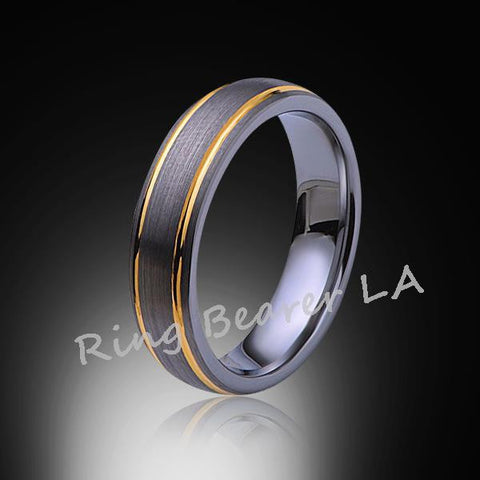 6mm,Unique,Brushed Satin Gray,Yellow, Gold Grooves,Tungsten,Wedding Band,Comfort Fit - RING BEARER LA