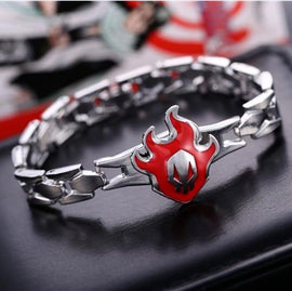 Bleach Bracelet - Bleach Logo Skull on Red Flame - AnimePond