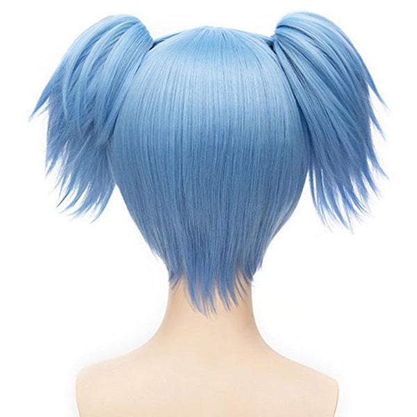Short Straight Ponytails Blue Synthetic Cosplay Wig