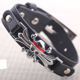 One Piece Skull Leather Bracelet - AnimePond