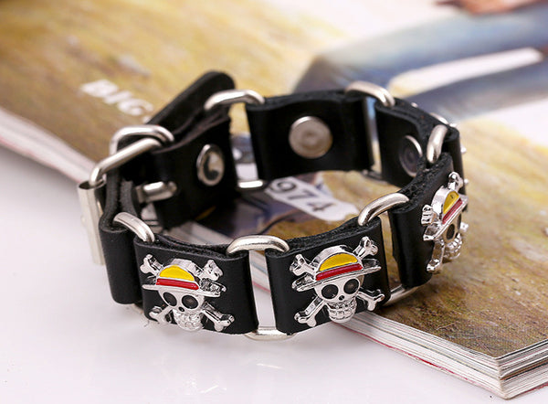 One Piece Bracelets - Leather - Pirate Skull - AnimePond