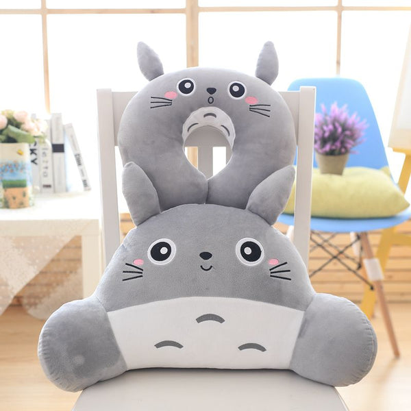 Totoro Pillow Set - Travel Neck Pillow + Office Waist Pillow
