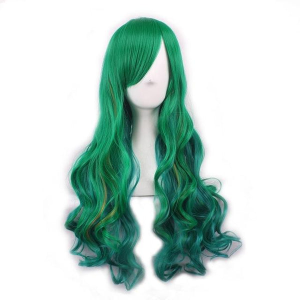 Anime Girl Long Natural Wave Green Synthetic Hair Cosplay Wig