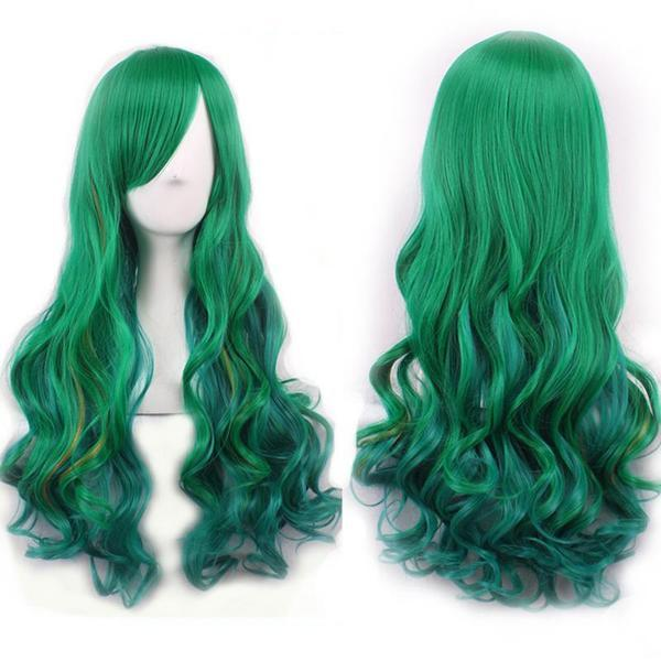 Anime Girl Long Natural Wave Green Synthetic Hair Cosplay Wig - AnimePond