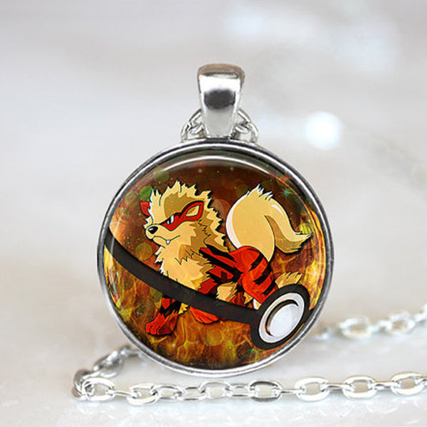 Pokemon Necklace - Arcanine in Pokeball - AnimePond