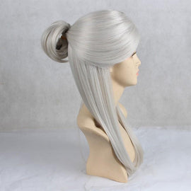Anime Girl Long Straight Synthetic Silver Hair Cosplay Wig - AnimePond