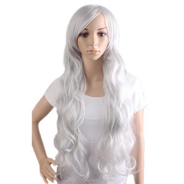 Long Wavy Silver Cosplay Wig - AnimePond
