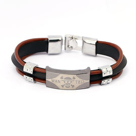 One Piece Three Layer Leather Chain Bracelets - AnimePond