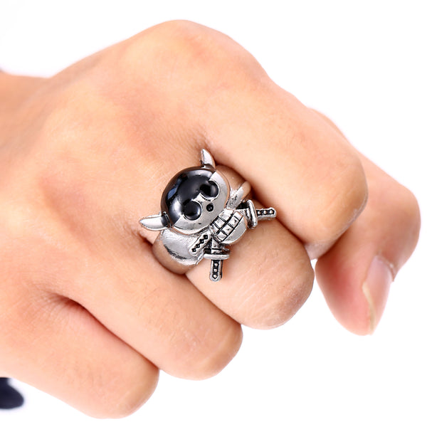 One Piece Roronoa Zoro Ring - Three Sworded Skull - AnimePond