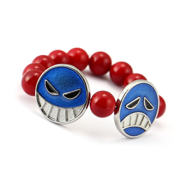 One Piece Bracelet Ace Red Beads - AnimePond