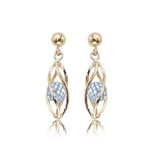 Yellow Gold and Sky Blue Topaz Cage Earrings