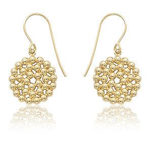 Gold Bead Dangle Disc Earrings