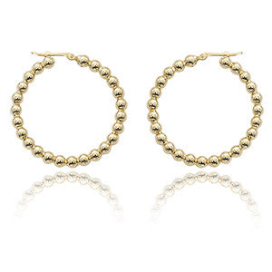 14k Yellow Bubble Gold Hoop