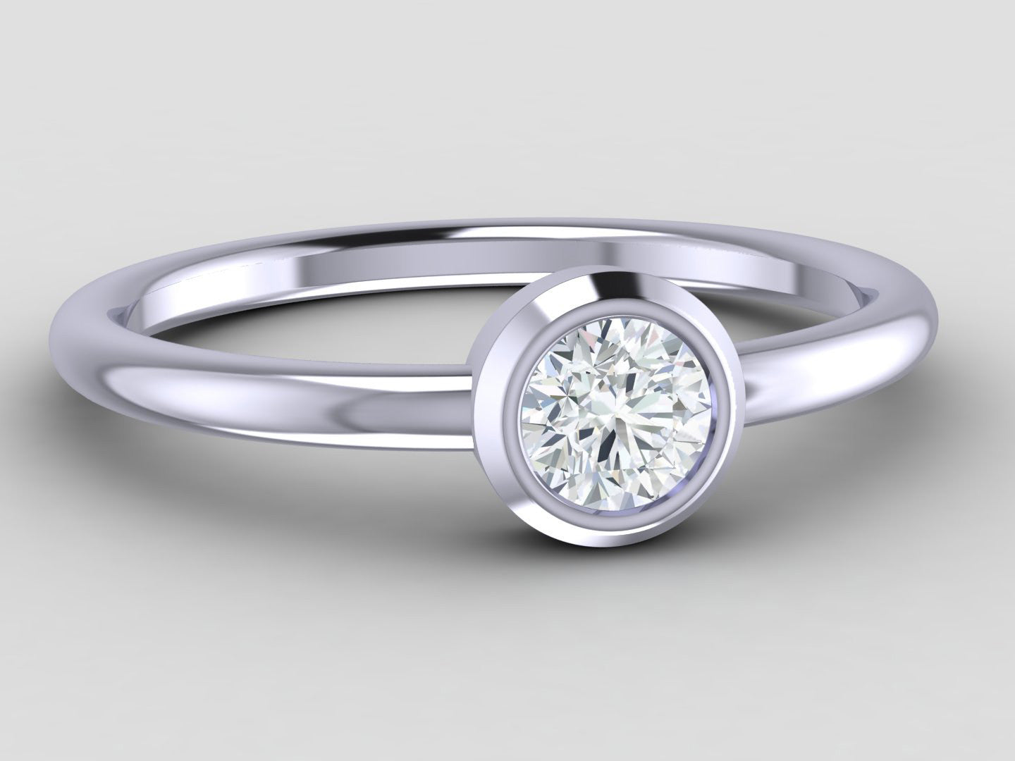 White Sapphire Solitaire Ring