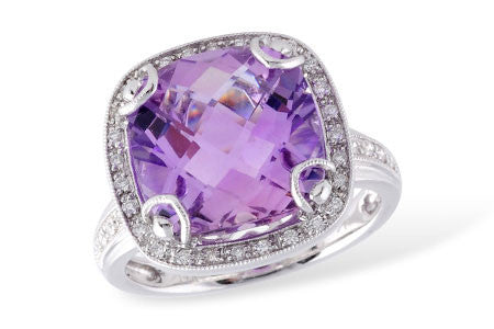 Amethyst and Diamond Cocktail Bling Ring