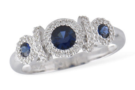 Three stone Sapphire and Diamond Halo Ring