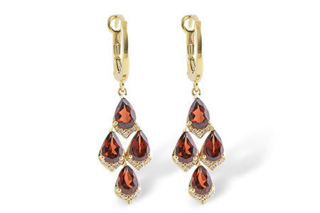 Garnet and Yellow Gold Chandelier Earrings