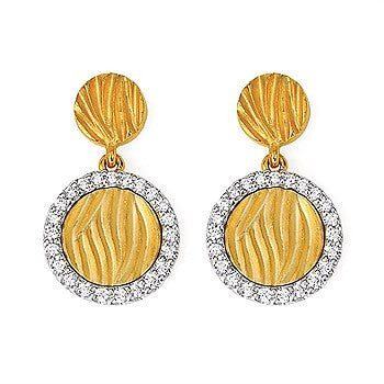 Zebra Print Gold and Diamond Halo Earrings
