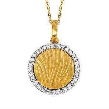 Yellow Gold Zebra Print Diamond Halo Necklace