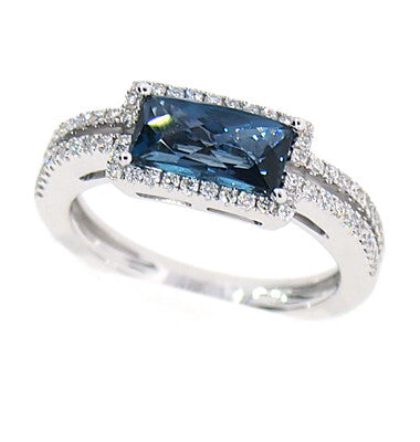 East-West Blue Topaz Fashion Ring