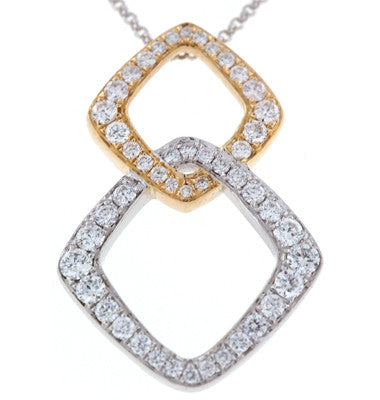Yellow and White Gold Interlocking Diamond Necklace