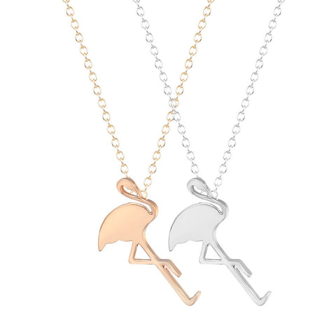 Gold and Silver Flamingo Necklace - www.hitide808.com