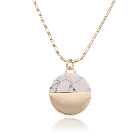 Gold & Marble Round Necklace - www.hitide808.com