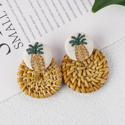 Pineapple Straw Earrings - www.hitide808.com
