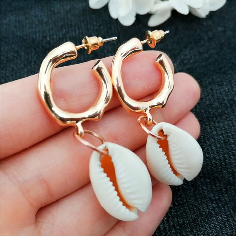 White Cowrie Hoop Earrings - www.hitide808.com