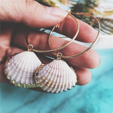 Cockle Shell Hoop Earrings - www.hitide808.com