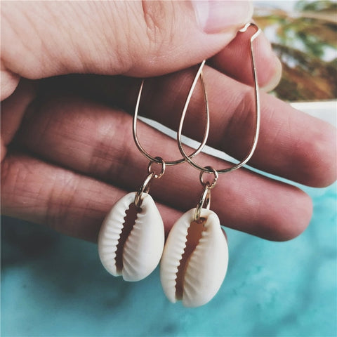 Cowrie Shell Teardrop Hoop Earrings - www.hitide808.com