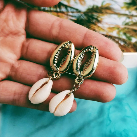 Double Cowrie Shell Dangling Earrings - www.hitide808.com