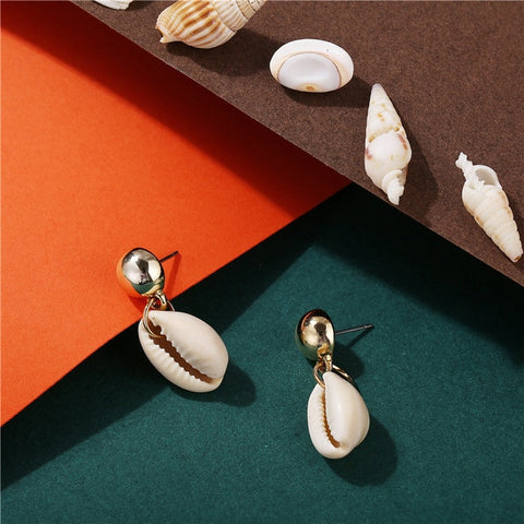 Cowrie Shell Dangling Earrings - www.hitide808.com