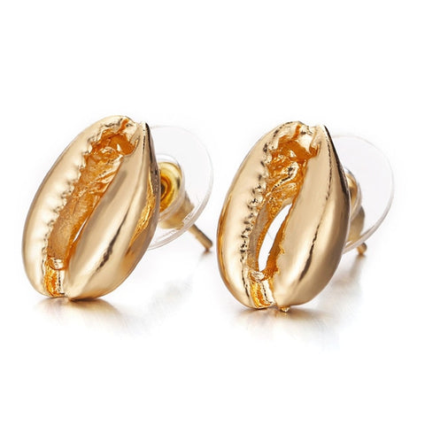 Gold Cowrie Seashell Stud Earrings - www.hitide808.com