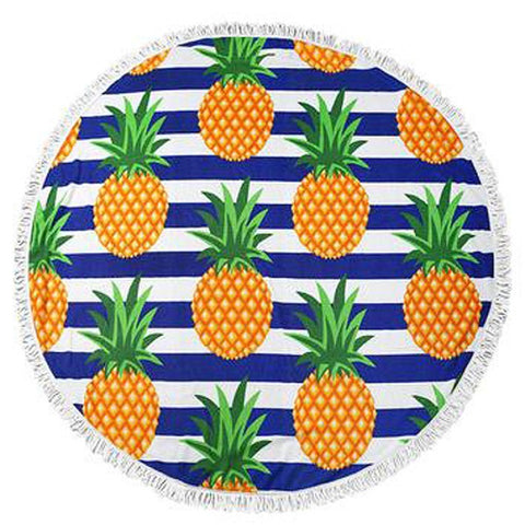 Pineapple Stripes Round Towel - www.hitide808.com