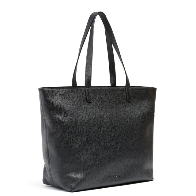 Coyn Black Leather Zipper Tote, Made in Italy
