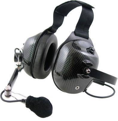 Pryme HDS-EMC-11 Carbon Fiber Dual Earmuff Headset, Fits Kenwood - Earphone Guy LLC