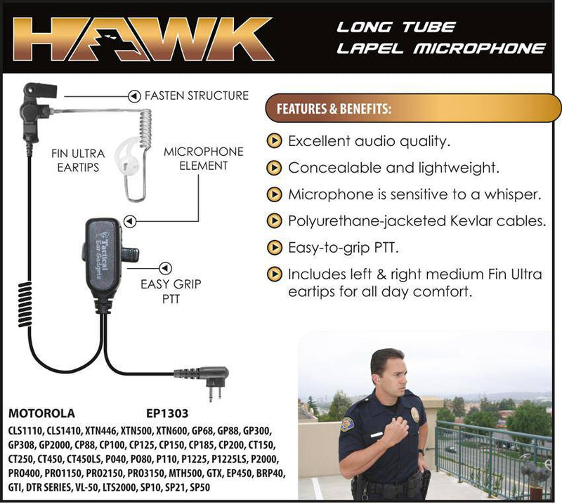 EP1303 Hawk Lapel Microphone fits Motorola / HYT Two Pin - The Earphone Guy
