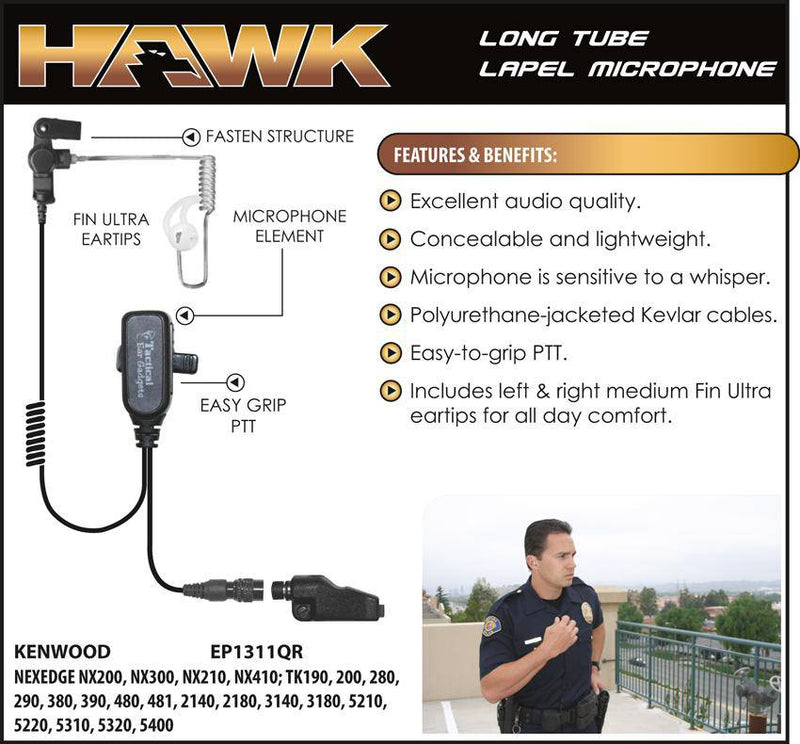 EP1311QR Hawk Lapel Microphone with Quick Release fits Kenwood Multi Pin - Earphone Guy LLC