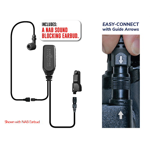 EP1334ECM1 Hawk M1 Tubeless Lapel Microphone for Motorola APX/TRBO – Now Available with NAB Option! - The Earphone Guy