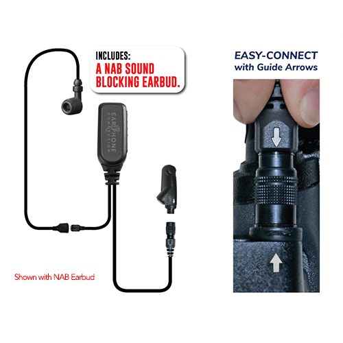 EP1348ECM1 Hawk M1 Tubeless Lapel Microphone for Harris M/A-Com XG/XL – Now Available with NAB Option! - The Earphone Guy
