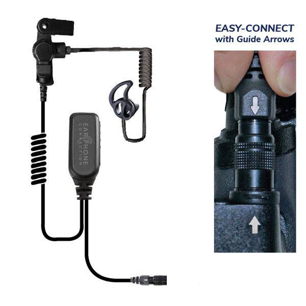 EP1323ECBT, Hawk Black Diamond Tactical Lapel Microphone, w/Easy-Connect fits Motorola XTS/Jedi - The Earphone Guy