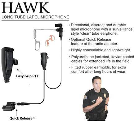 EP1307QR, Hawk, Lapel Mic, w/Quick Release fits Harris M/A COM - The Earphone Guy