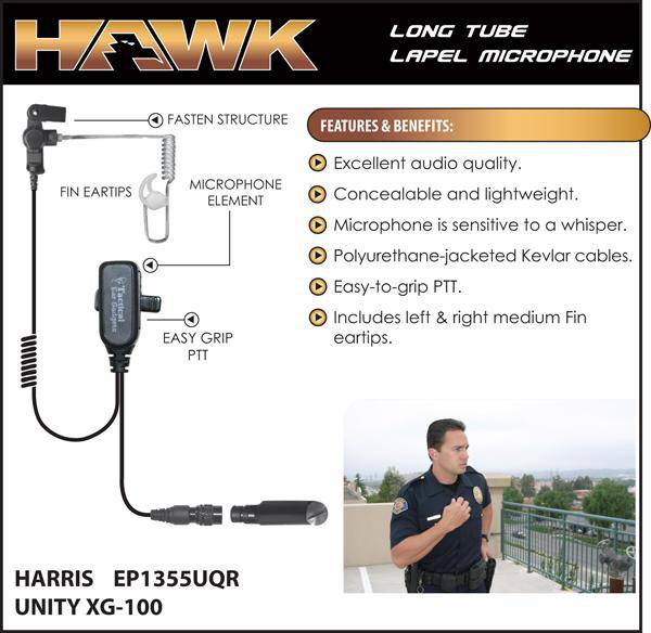 EP1355UQR, Hawk, Lapel Microphone, w/Quick Release fits Harris XG100 - Earphone Guy LLC