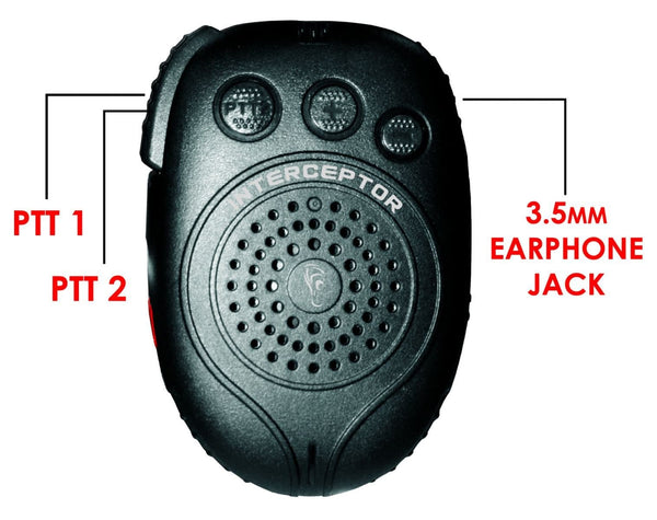 EP-H4-34 Interceptor Bluetooth Speaker Mic fits Motorola TRBO and APX - Earphone Guy LLC