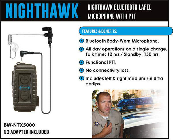 BlueWi BW-NT5000U Nighthawk Bluetooth Lapel Microphone for Harris MA/com XG-100U - The Earphone Guy