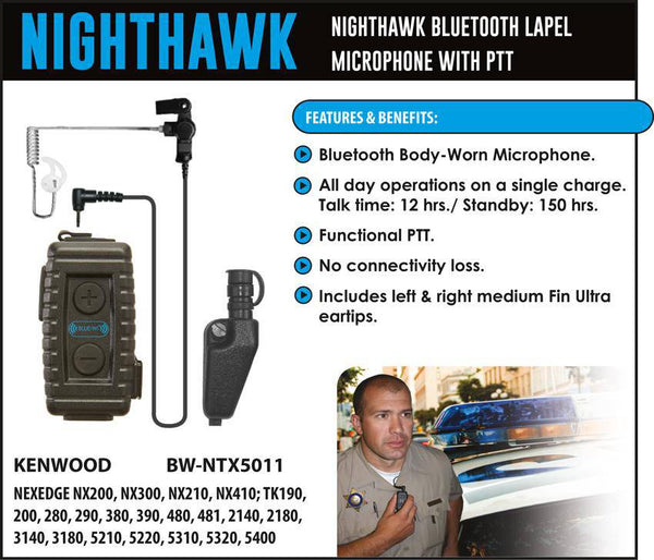 BlueWi BX-NTX5011 Nighthawk Bluetooth Lapel Microphone for Kenwood Multipin - Earphone Guy LLC